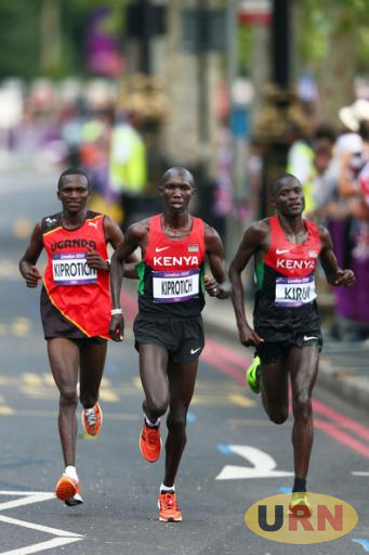 Stephen Kiprotich (L) during an International Championship.