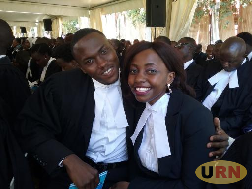 Charlotte Katuutu, Law Development Centre's best Student together with a colleague at the graduation ceremony today.