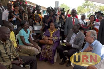 UN SG Antonio Guterres and Disaster Preparedness Minister Hillary Onek in a Meeting with Communities in Arua