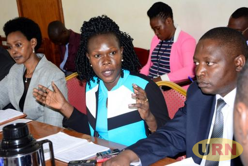 State Minister for Investment Evelynn Anite together with the State Minister for Planning David Bahati appearing before parliament's finance committee.