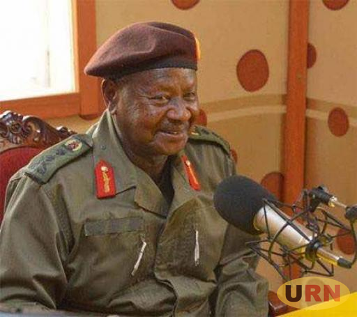 President Museveni in one of the radio studios.