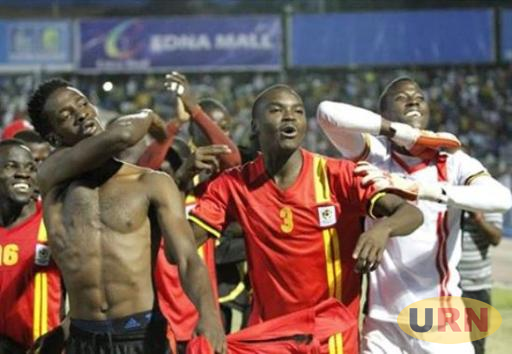 Uganda Cranes players celebrate after winning the 2015 Cecafa Senior Challenge Cup.