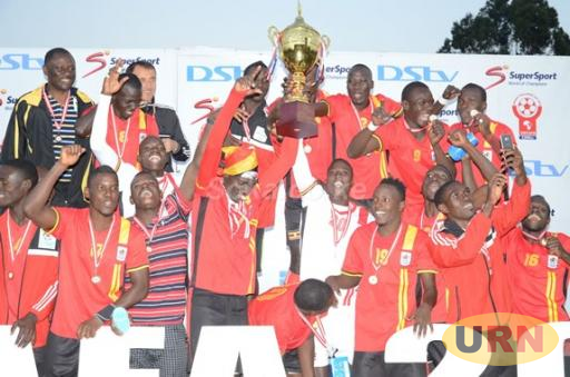 Uganda Cranes team after winning the Cecafa Senior Challenge Cup in 2015.