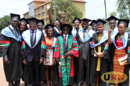 Dr. William Tayeebwa the Department Head of Journalism and Communication (DJC) at Makerere University with some of the Masters degree graduates.