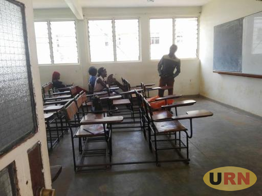 Some of the students in class at NPT building at Kyambogo University