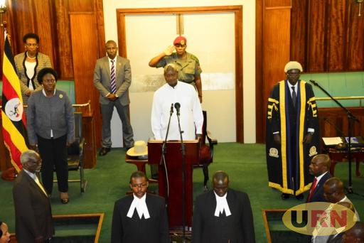 President Yoweri Museveni attending the EALA sitting at Parliament.