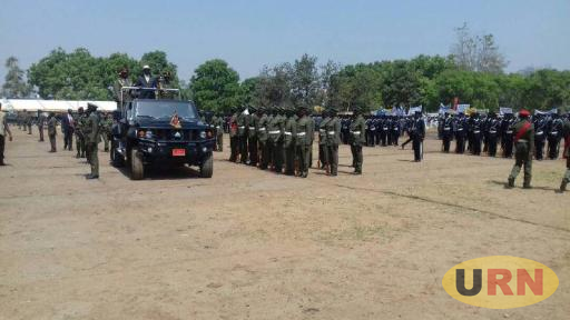 Museveni Inspecting a guard of Honor at Arua