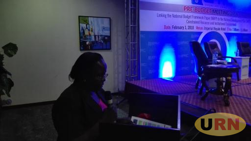 Dr Sarah Ssewanyana speaking at a recent event in Kampala.