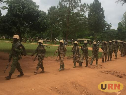 UPDF soldiers from a shooting range training at Singo training school