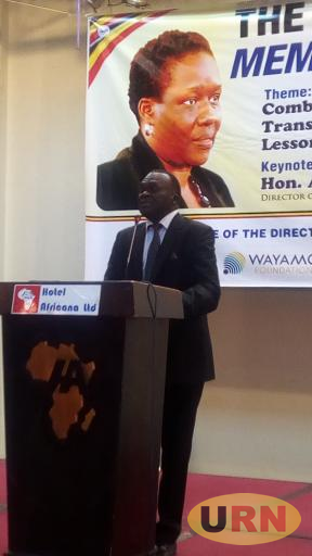 Deputy Chief Justice Alfonse Owiny-Dollo while speaking at the Joan Kagezi Memorial lecture