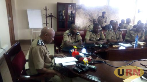 inspector General of Police Okoth Ochola addressing journalists together with other senior officers