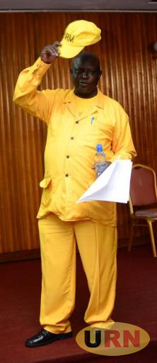 Arua Municipality MP Ibrahim Abiriga clad in yellow with his trade mark National Resistence Movement (NRM) cap