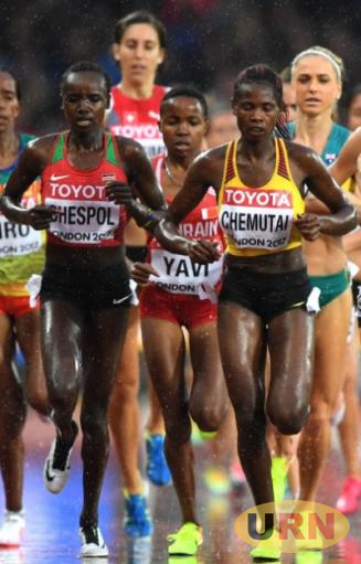 Peruth Chemutai (R) during the 2017 IAAF World Championships in London.