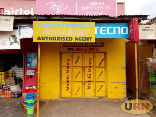 A Mobile Money shop which has remained closed today in Luweero town in protest against tax on the transactions