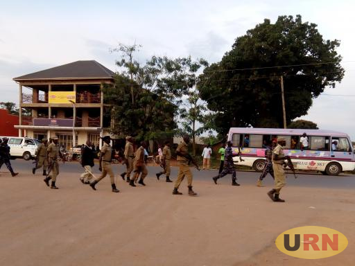 Police officers deployed in Kasana trading center in Luweero town to disperse rowdy Buddu FC fans