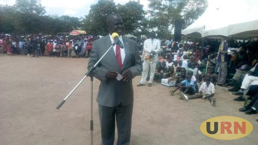 MP Wadri Kasiano addressing the crowd at Arua Hill grounds during the Independence celebrations