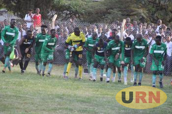 Onduparaka players celebrate after scoring third goal.