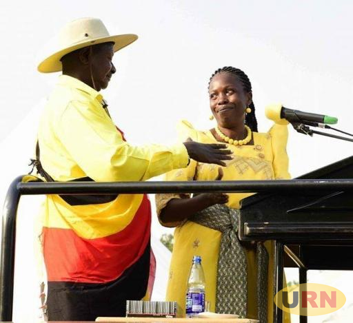Mityana District Woman MP Judith Nabakooba with President Museveni. The MP is currently in a heated row with some councillors over LRDP Funds.