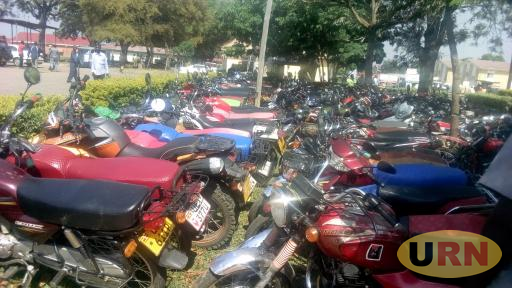 Some of the impounded motorcycles at Arua CPS on Thursday