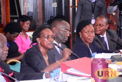 Former Executive Director Supervision Justine Bagyenda appearing before COSASE with other BoU officials.