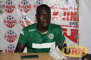 The team captain of Onduparaka FC, Rashid Toha speaks to the press after the match.