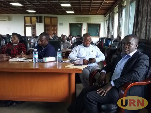 Dr. Deus Muhwezi Kamunyu, the MUASA chairperson in a joint staff association meeting at Makerere on Friday.