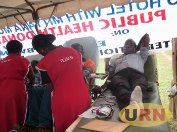 Health Workers attending to Blood donors in a recent drive. However Health Centers in Masaka region are hit by blood shortage .jpg