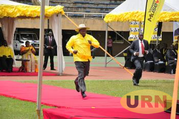 Museveni ran a short distance at Nambole during the party conference which confirmed him as sole party flag bearer in 2016 presidential elections