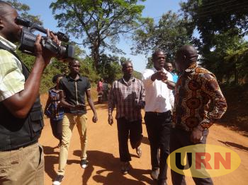 The forum for democratic change youth for Kagoma constituency Martin Ikuute, being forced out of the party's meeting held at mother Kevin hall in Iganga district on Sunday.