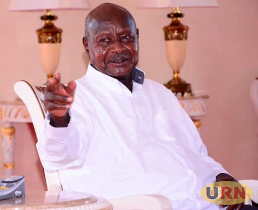 President Yoweri Museveni speaking to journalists at State House Entebbe about the Miss Curvy pageant.