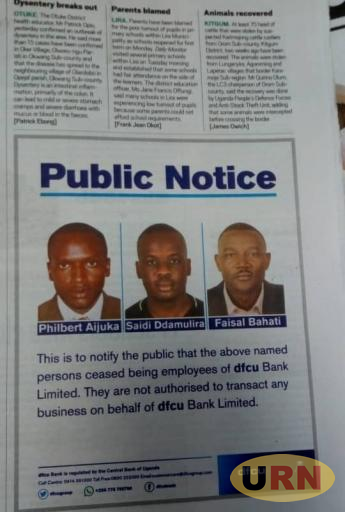 A notice from DFCU Bank.