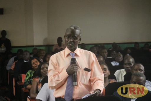 Dr. William Tayebwa, the Head of the Department of Journalism and Communication at Makerere University submitting during the Joint Staff Assembly