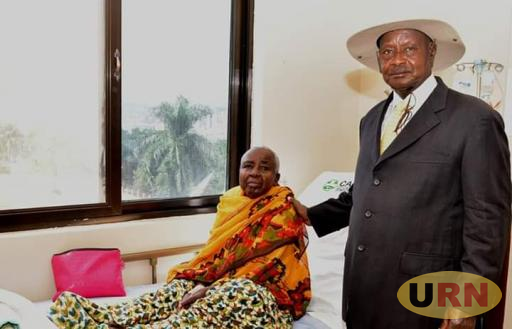President Museveni at Case Hospital where he had gone to visit Mrs Mukirania.