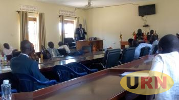 Arua Municipal TC Daniel Christopher Kaweesi addressing the council on Tuesday in the council hall.