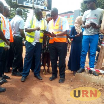 KCCA Acting Executive Director, Eng Andrew Kitaka led a team of KCCA officials who visited ongoing infrastructure projects including a site where Kasubi market will be constructed