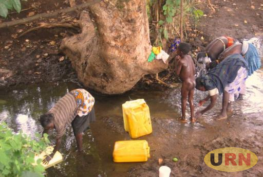 Residents of Nakapiripirit town council use the same water source for bathing, drinking and other domestic purposes