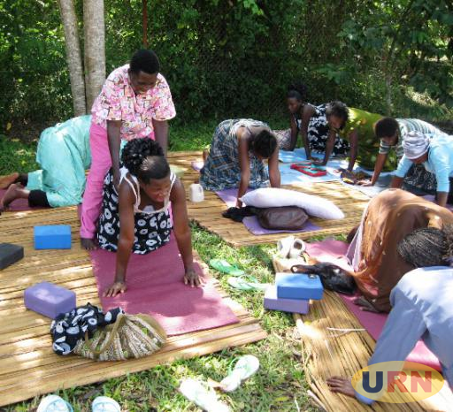 Some of expectant mothers in yoga classes at Shanti Maternal Health Center in Luweero