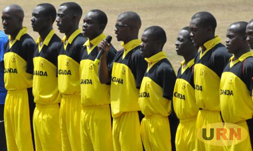 Uganda's national cricket team lines-up for a match two years ago.