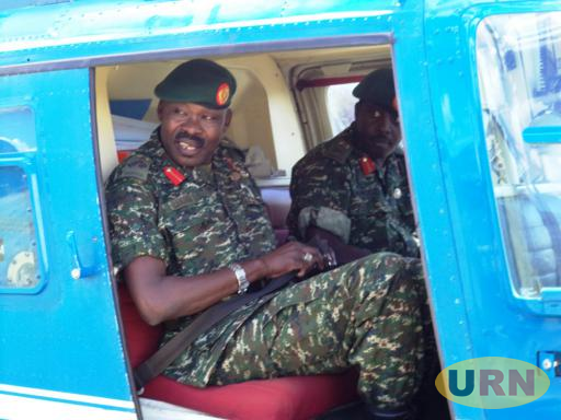 Gen. Lakara, Muhoozi aboard a chopper to Kampala after a handover ceremony in Moroto