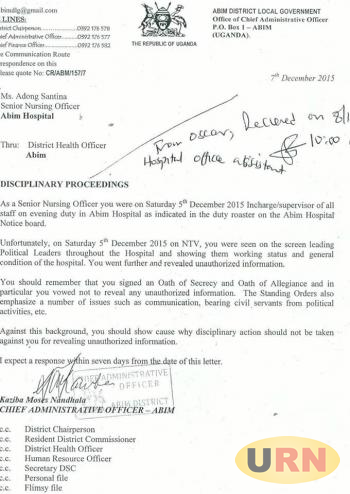 letter to district health officer