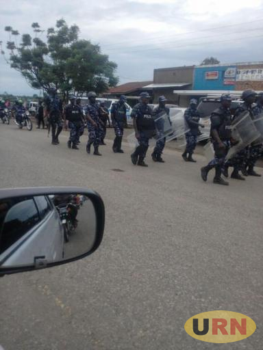Some of the police officers patrolling Kasese town