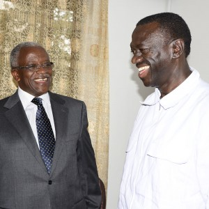 Amama Mbabazi (left) and Kizza Besigye are believed to be front runner contenders to be TDA flag bearer